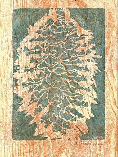 Montezuma Pine  - monoprint by G. Lee Boerger