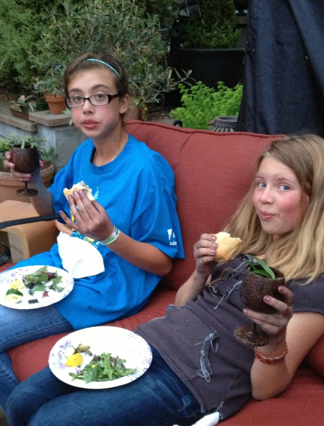 kids enjoying a foraged meal