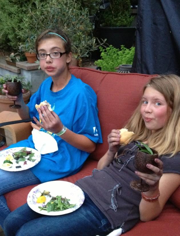 kids enjoying a foraged meal