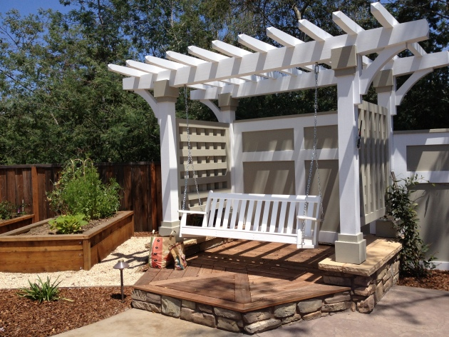 garden swing with arbor and platform