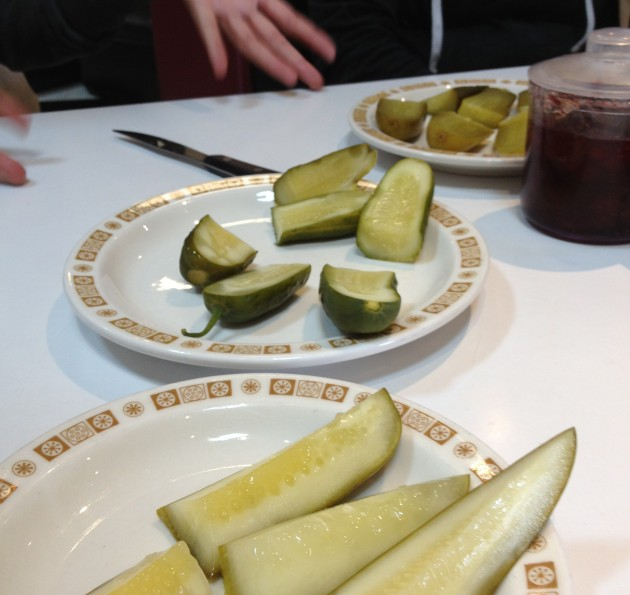 pickle tasting at Saul's