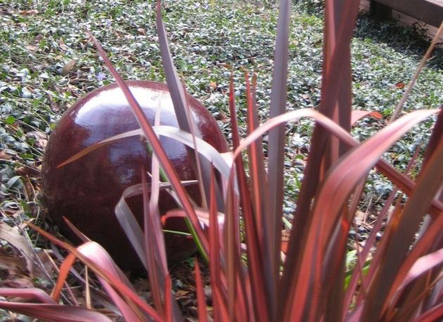 glazed ball with phormium closeup