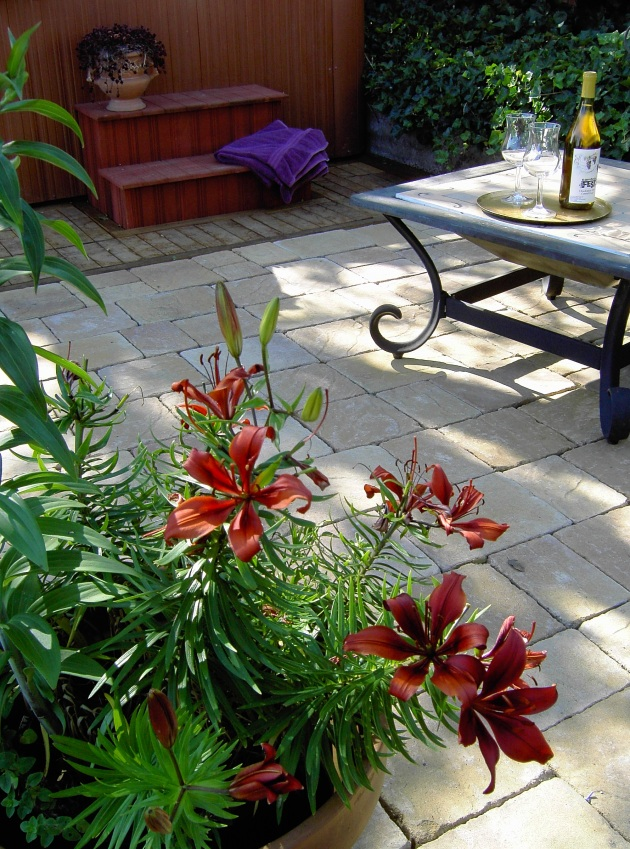 lillies and wine with hot tub