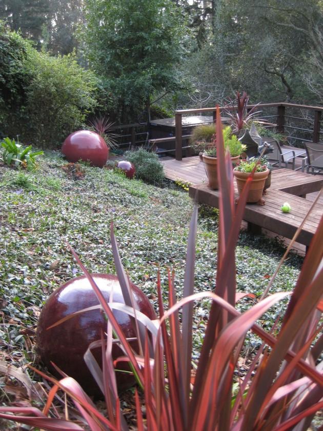 red ceramic balls in the landscape