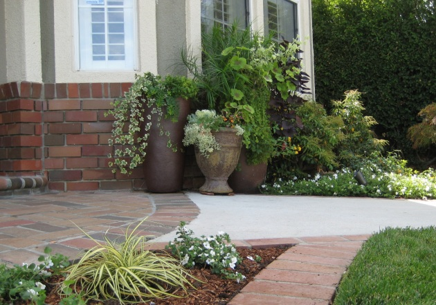 potted garden group with bricks