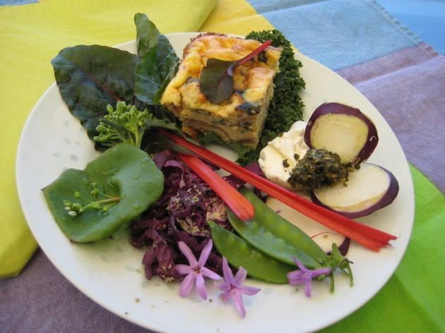 edible flowers rainbow chard brunch plate