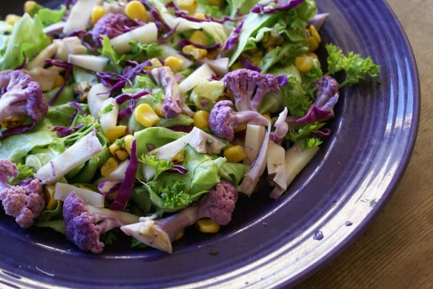 purple cauliflower roasted corn salad