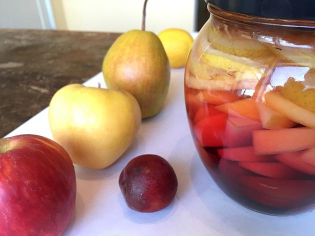 making rumtopf plums apples pears lemons