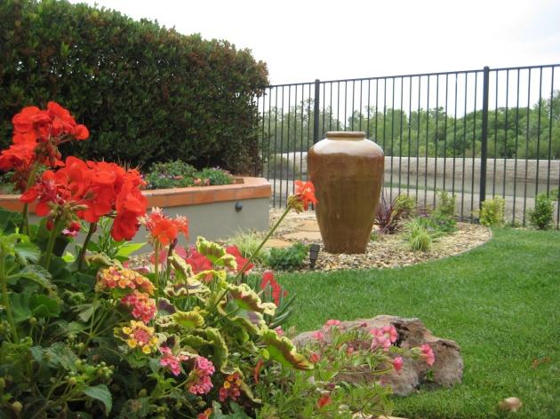 orange urn water fountain hidden basin