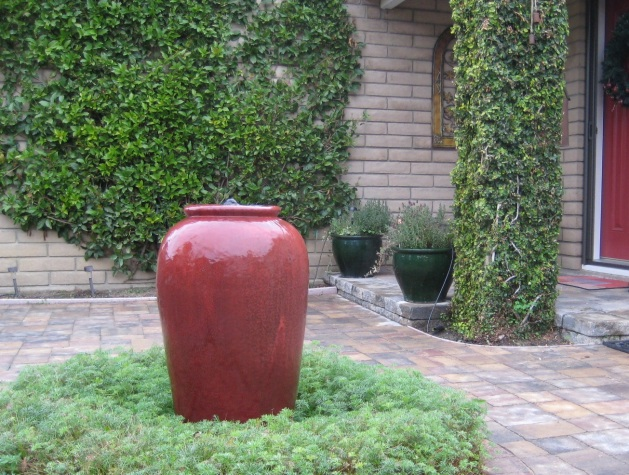 Red Urn Fountain Courtyard